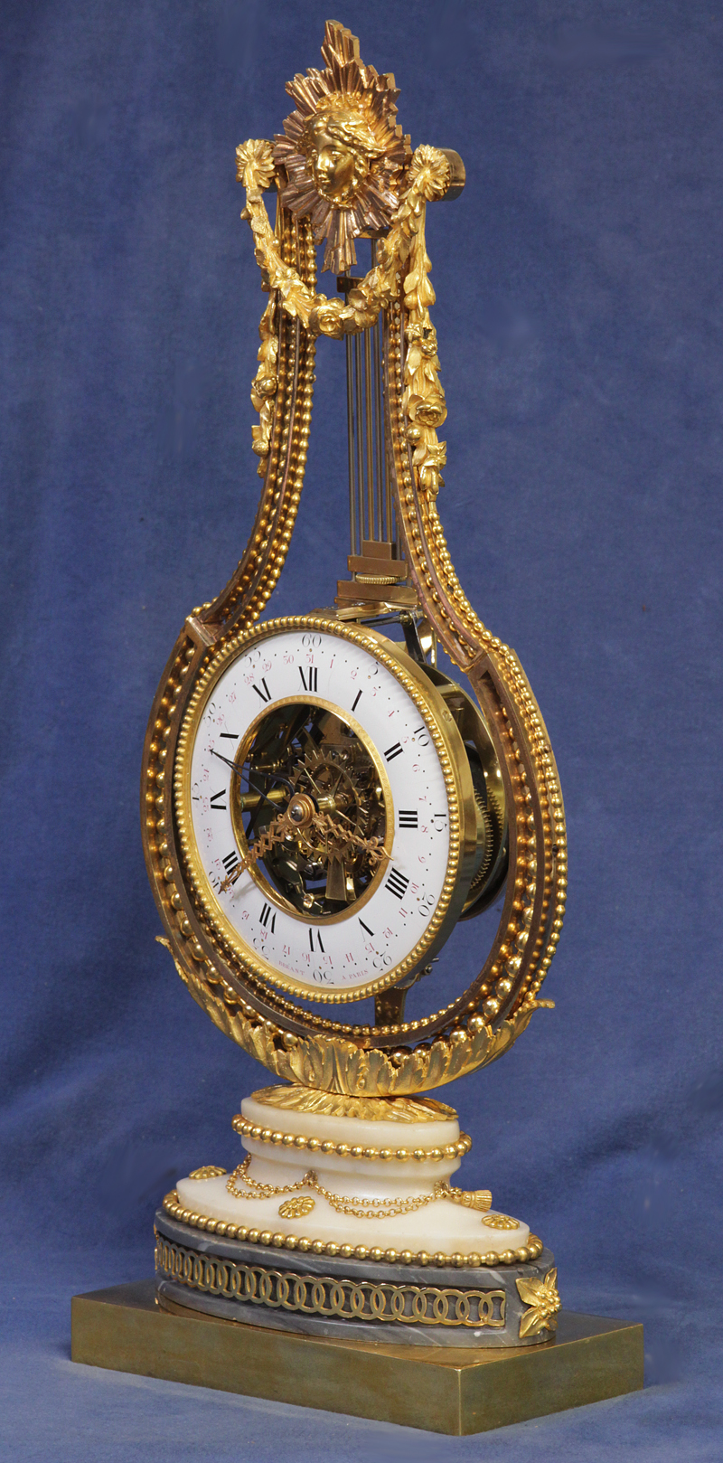C 1790 French Ormolu And Marble Swinging Lyre Clock