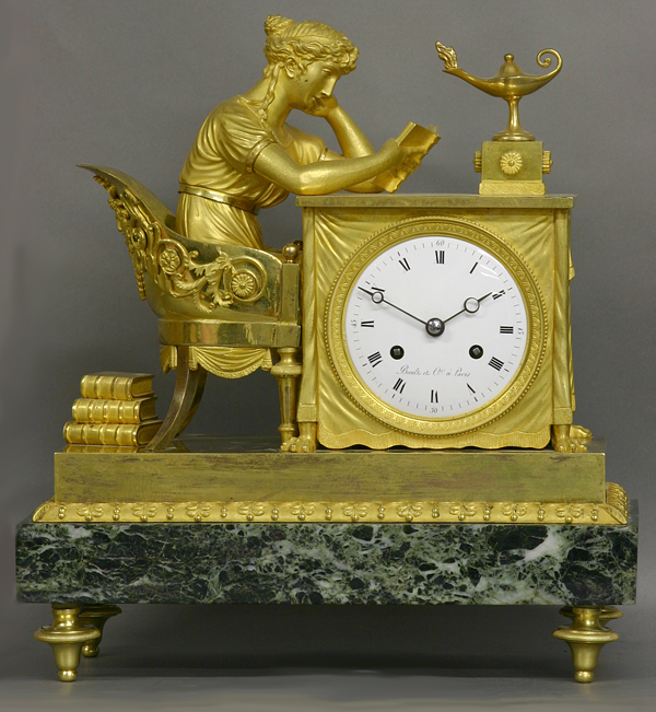c.1810 French Ormolu and Verde Antico Marble Mantle Clock