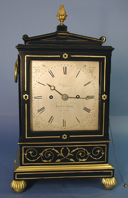 c.1845 English Ebonized Double Fusee Bracket Clock with Brass Inlay