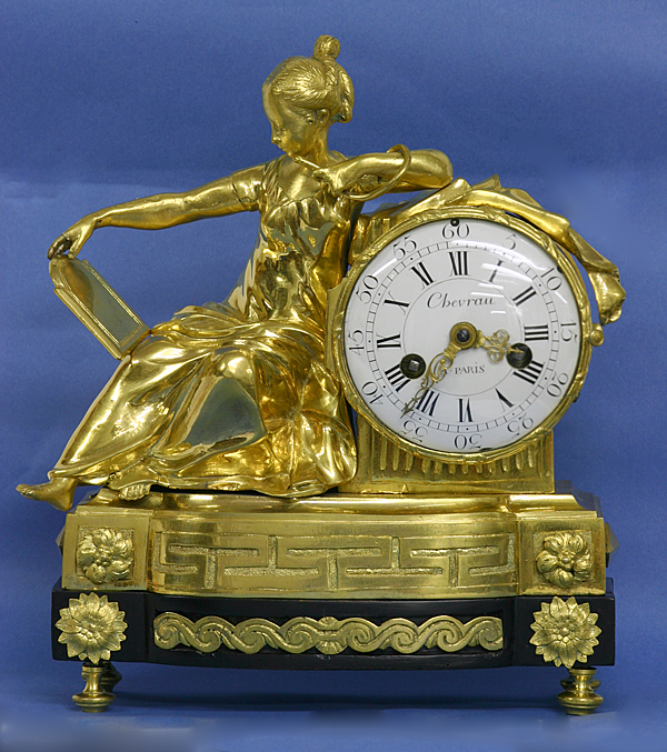 c.1770 French Ormolu and Ebonized Mantle Clock
