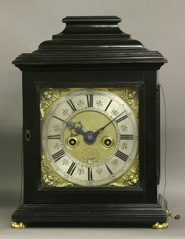 c.1700 English Quarter-Repeating Ebony Bracket Clock
