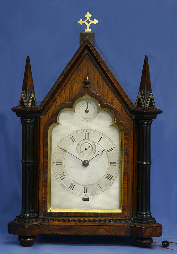 c.1830 Miniature English Inlaid Rosewood and Silver Bracket Clock