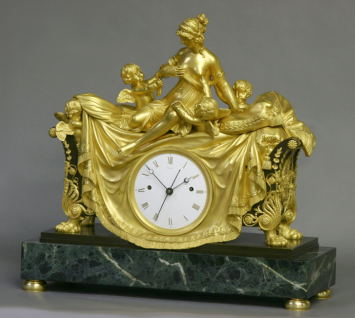 c.1812 Rare English Patinated, Ormolu and Marble Mantle Clock