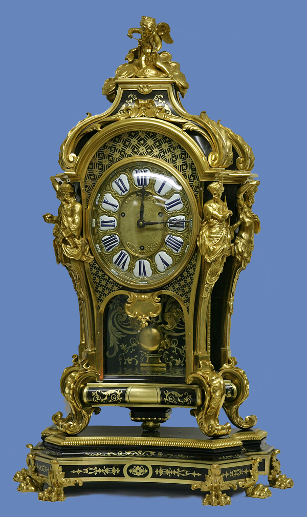 c.1900 Rare French Louis XIV Style Ormolu and Boulle Quarter-Striking Oval Dial Mantle Clock