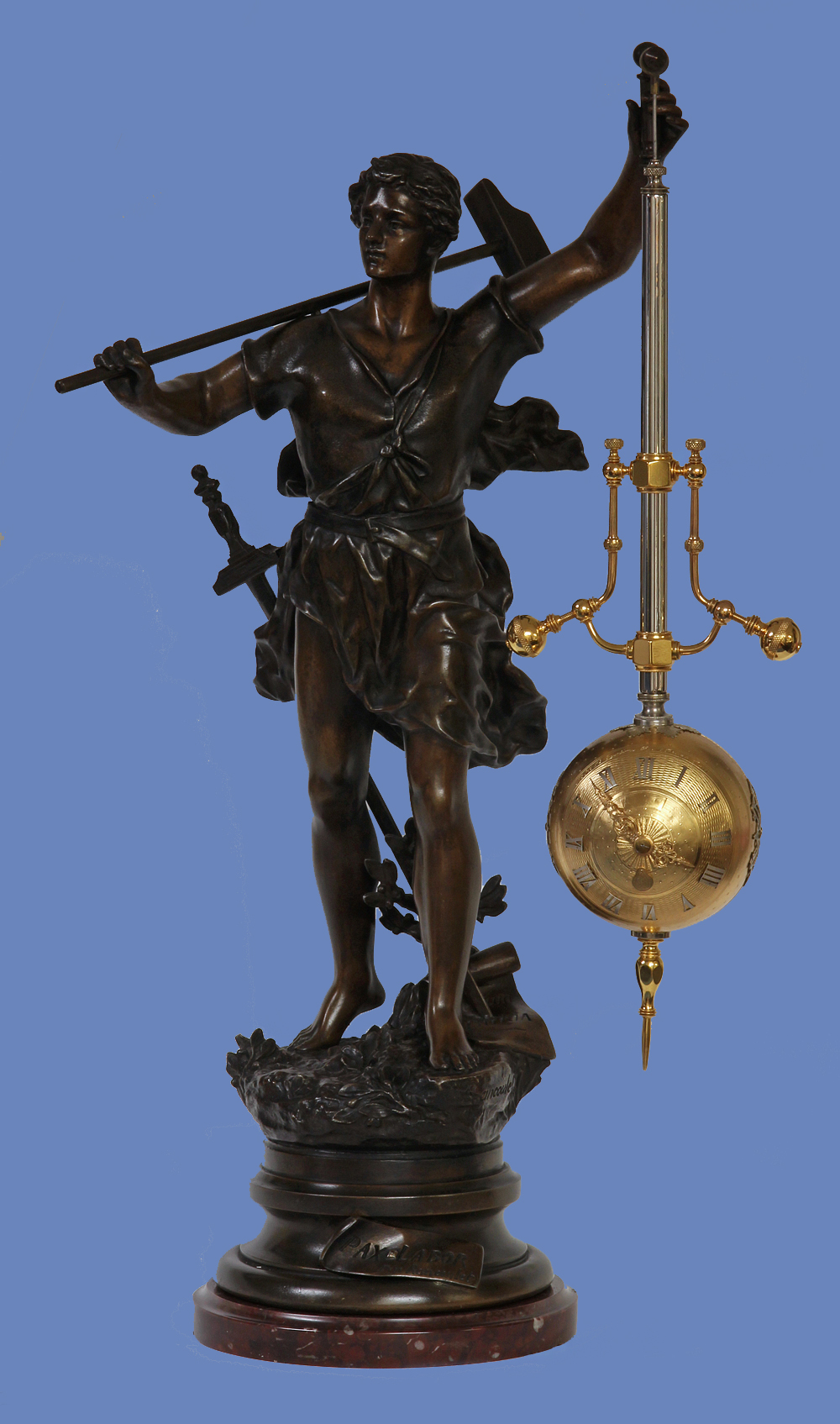 c.1885 French Gilt and Silvered-Bronze and Patinated Metal Torsion Mystery Clock