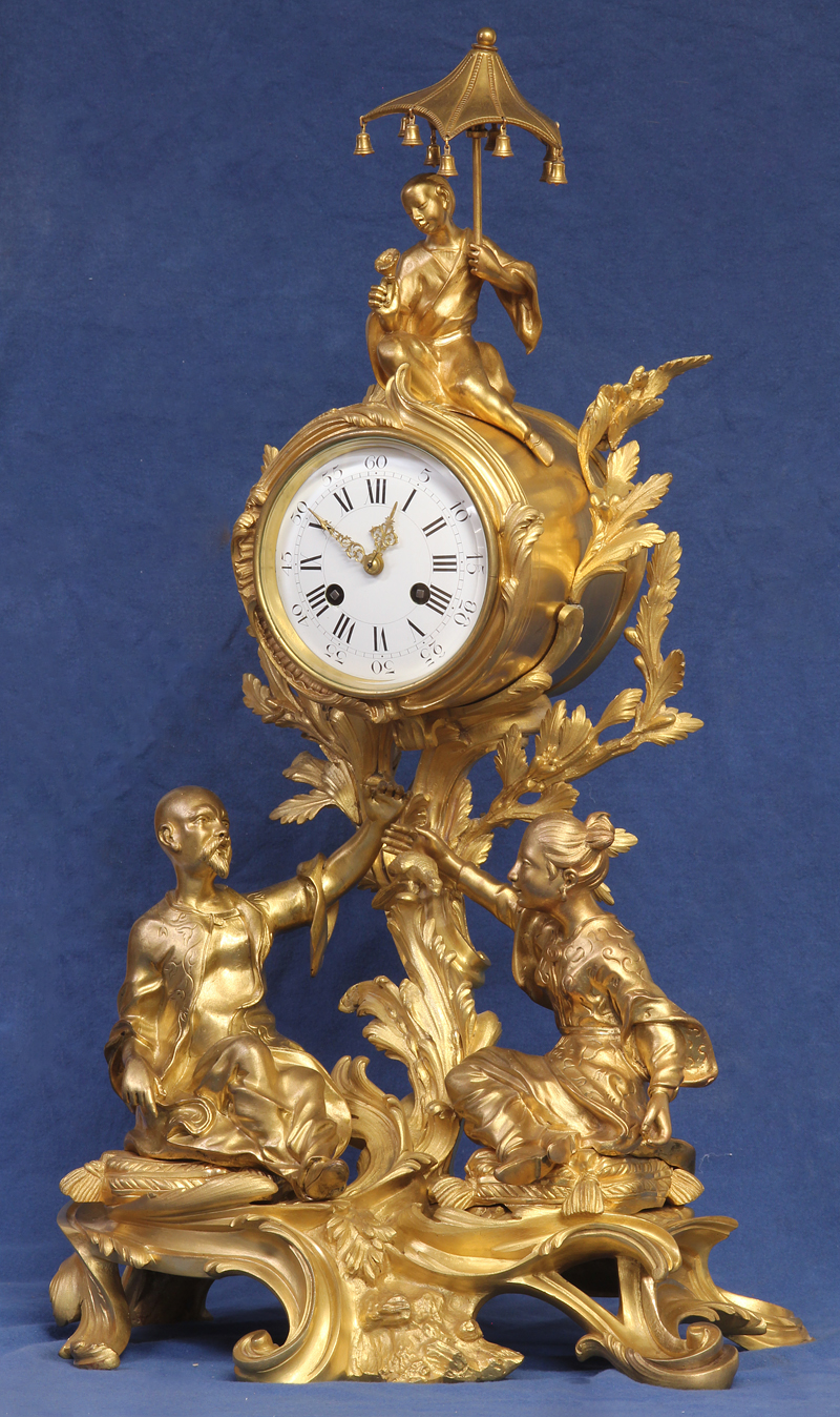 c.1885 French Gilt-Bronze Figural Clock