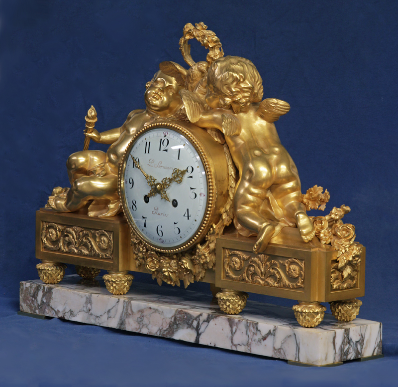 c.1870 Large French Gilt-Bronze and Marble Mantle Clock