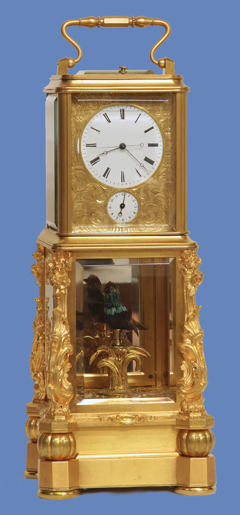 c. 1870 Rare French Automated Singing Bird Carriage Clock