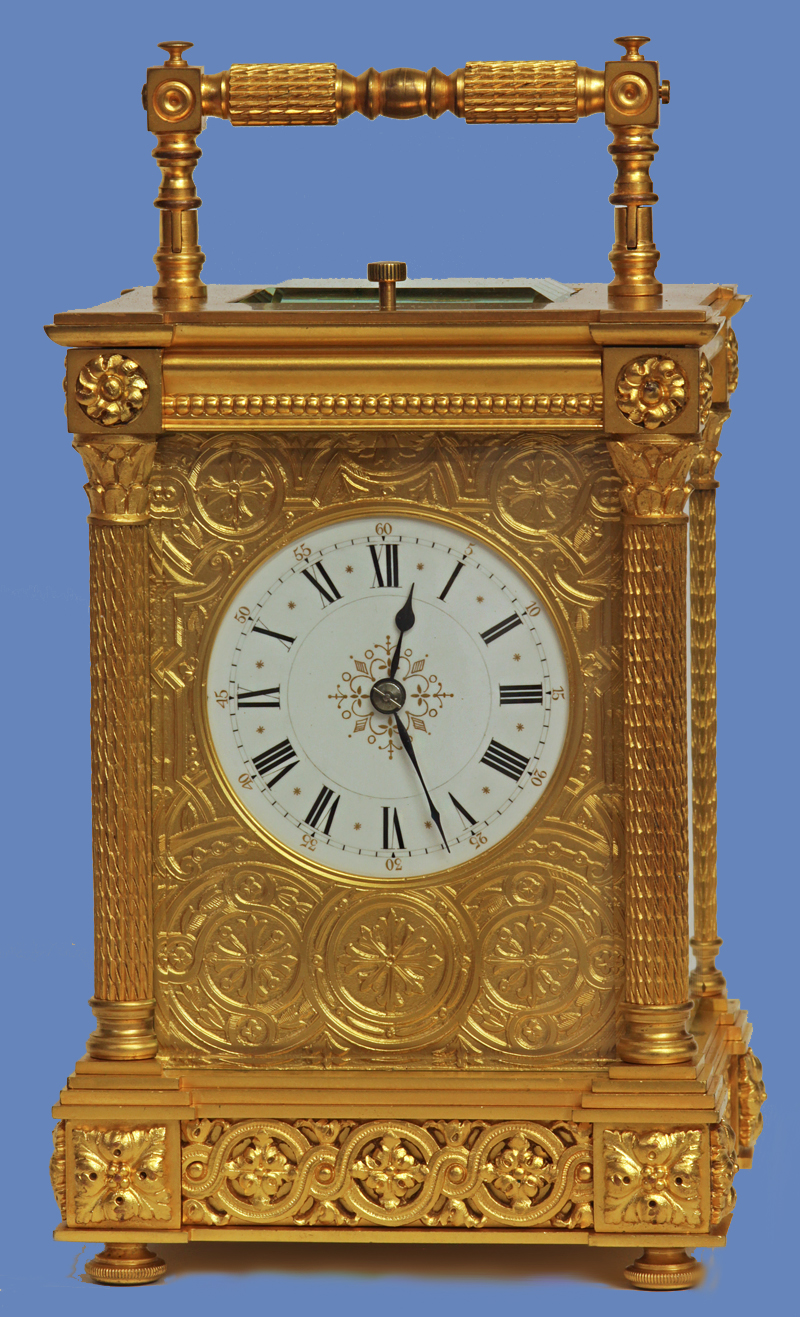 c. 1900 French Gilt-Bronze Grand-Sonnerie Carriage Clock