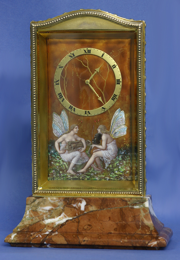 c.1910 Swiss Gilt-Silver, Enamel and Variegated Marble Desk Clock