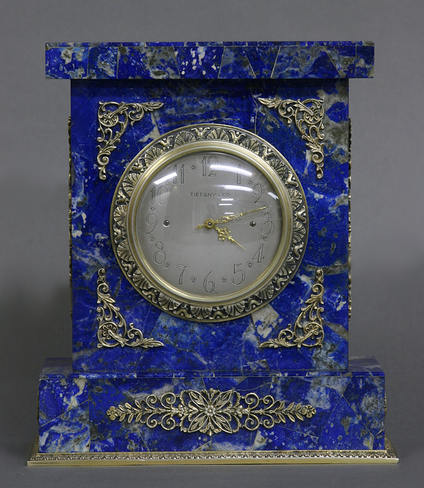 c.1950 Italian Lapis and Silver Desk Timepiece