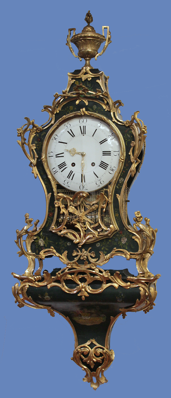 c.1760 Swiss Ormolu and Painted Wood Dutch-Striking and Musical Neuchatel Clock