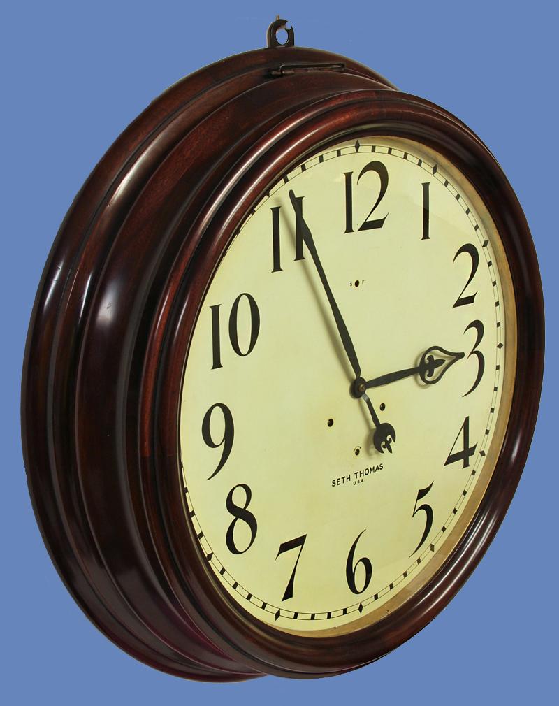 c. 1900 Large American Mahogany Gallery Clock