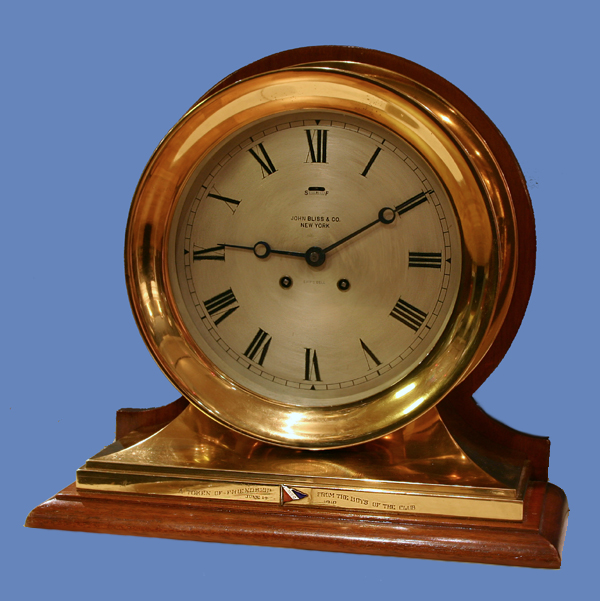 c.1910 American Ship's Clock on Mahogany Stand, Chelsea, 59,328