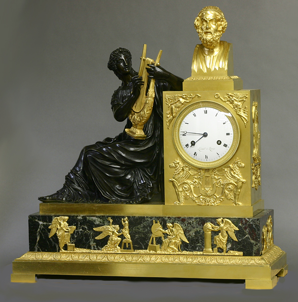 c.1815 Large French Ormolu, Patinated and Marble Mantle Clock