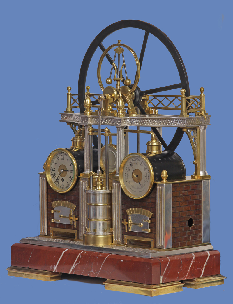Automated Steam Engine Industrial Clock