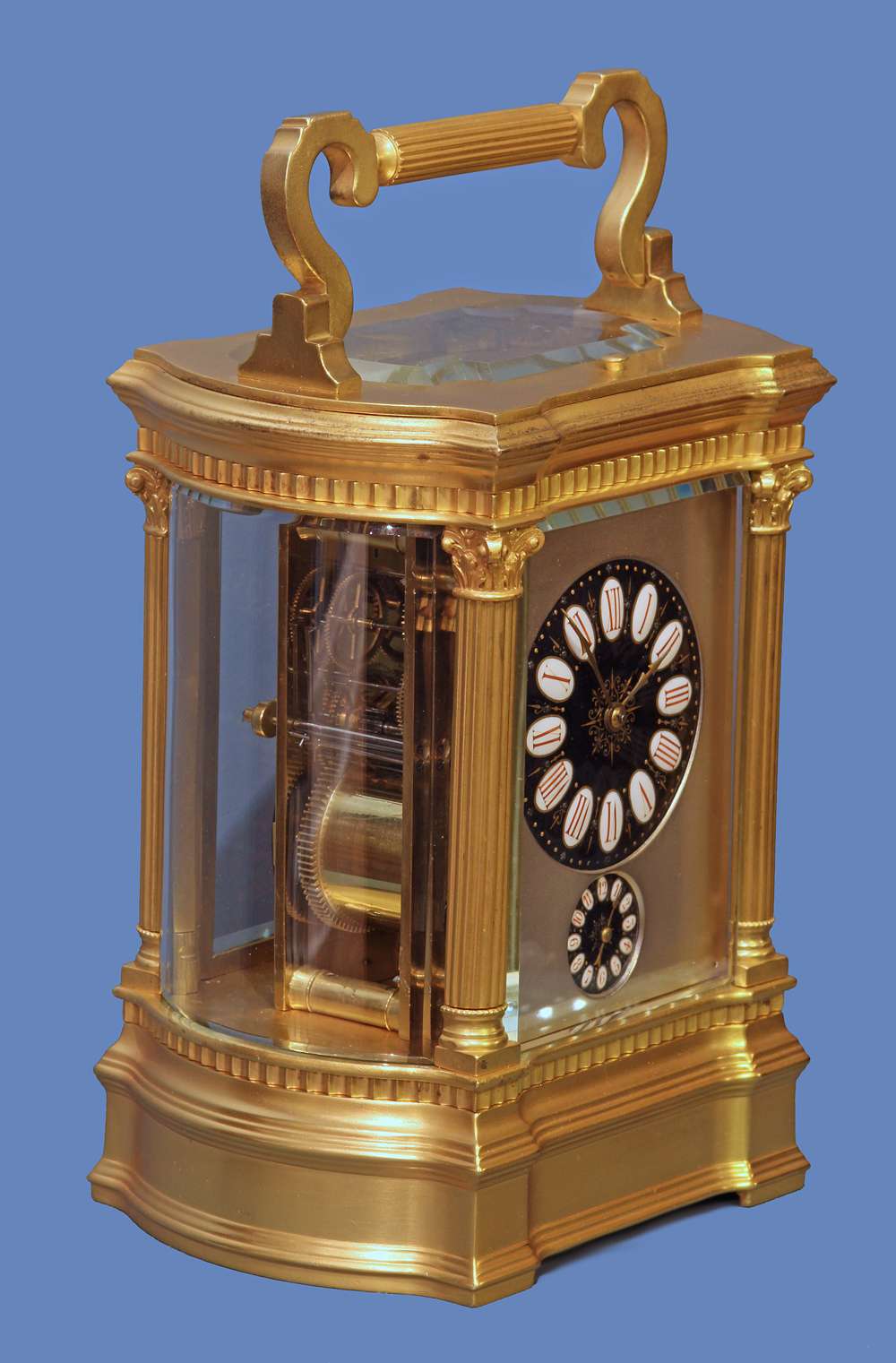 Bow-Sided Carriage Clock with Limoge Dial
