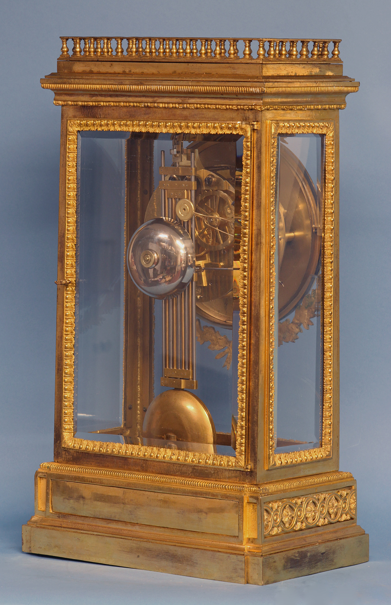 French ormolu regulator clock signed Bourdier.