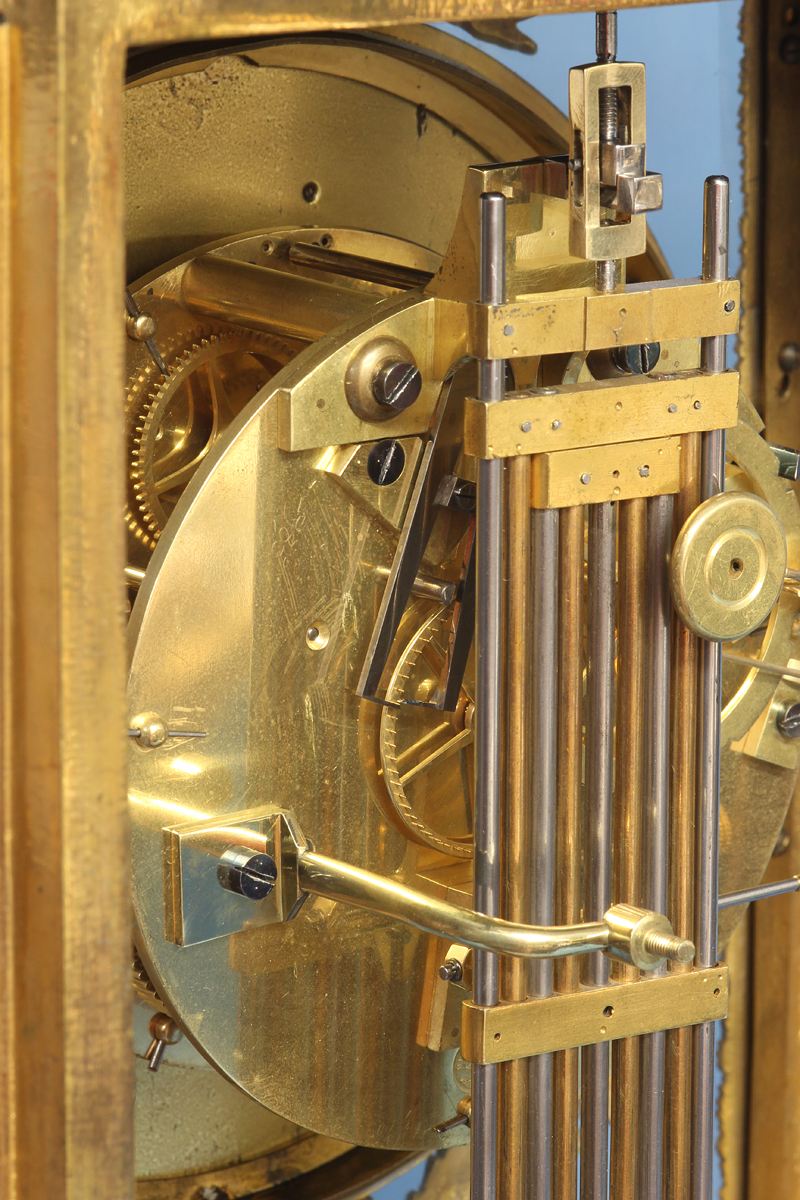 French ormolu regulator clock signed Bourdier.
