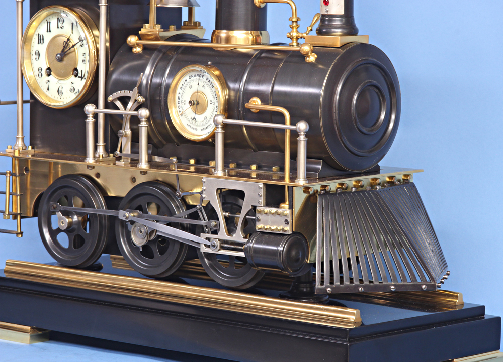 19th century French animated locomotive clock.