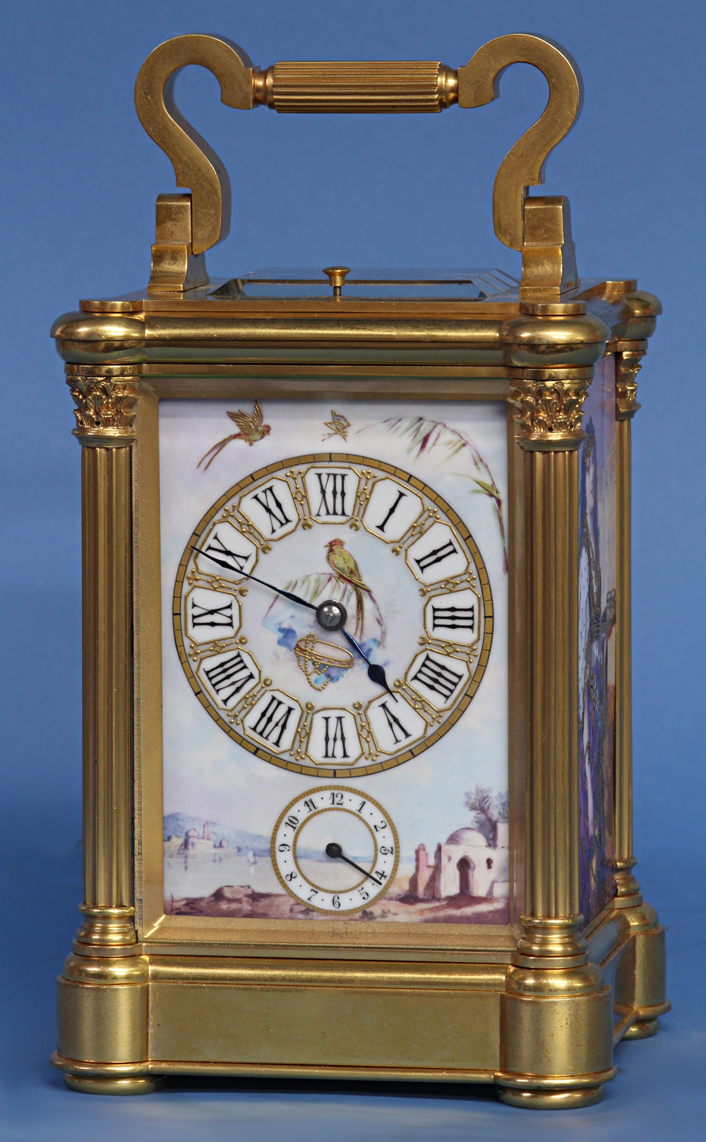 Carriage Clock with Porcelain Panels by L. Simonnet.