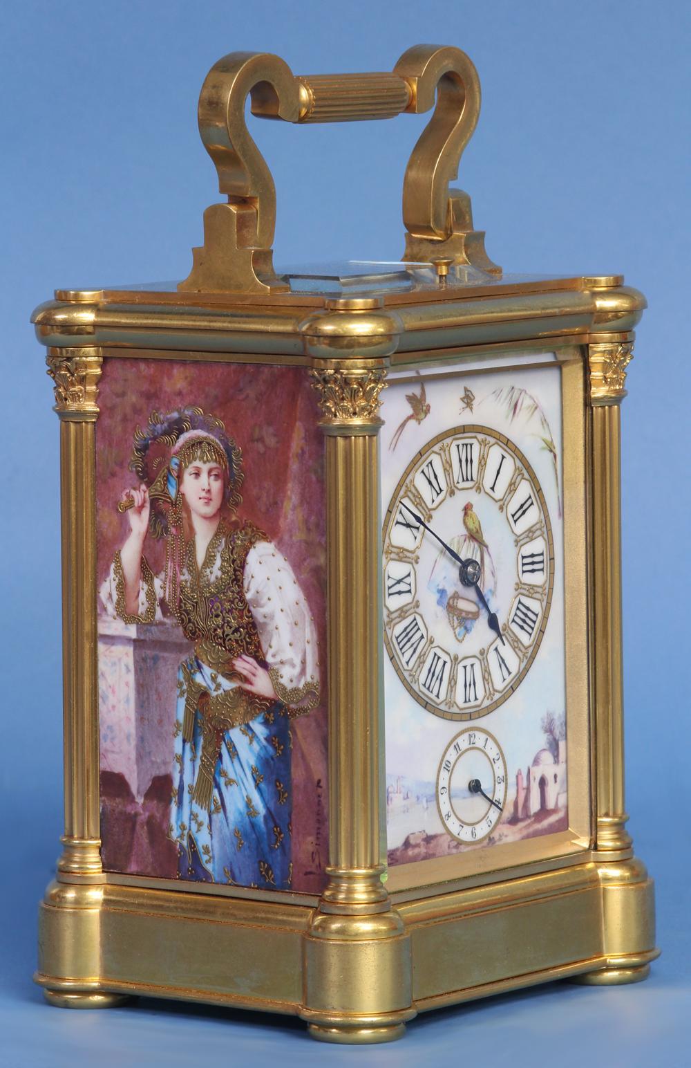 Carriage Clock with Porcelain Panels by L. Simonnet.