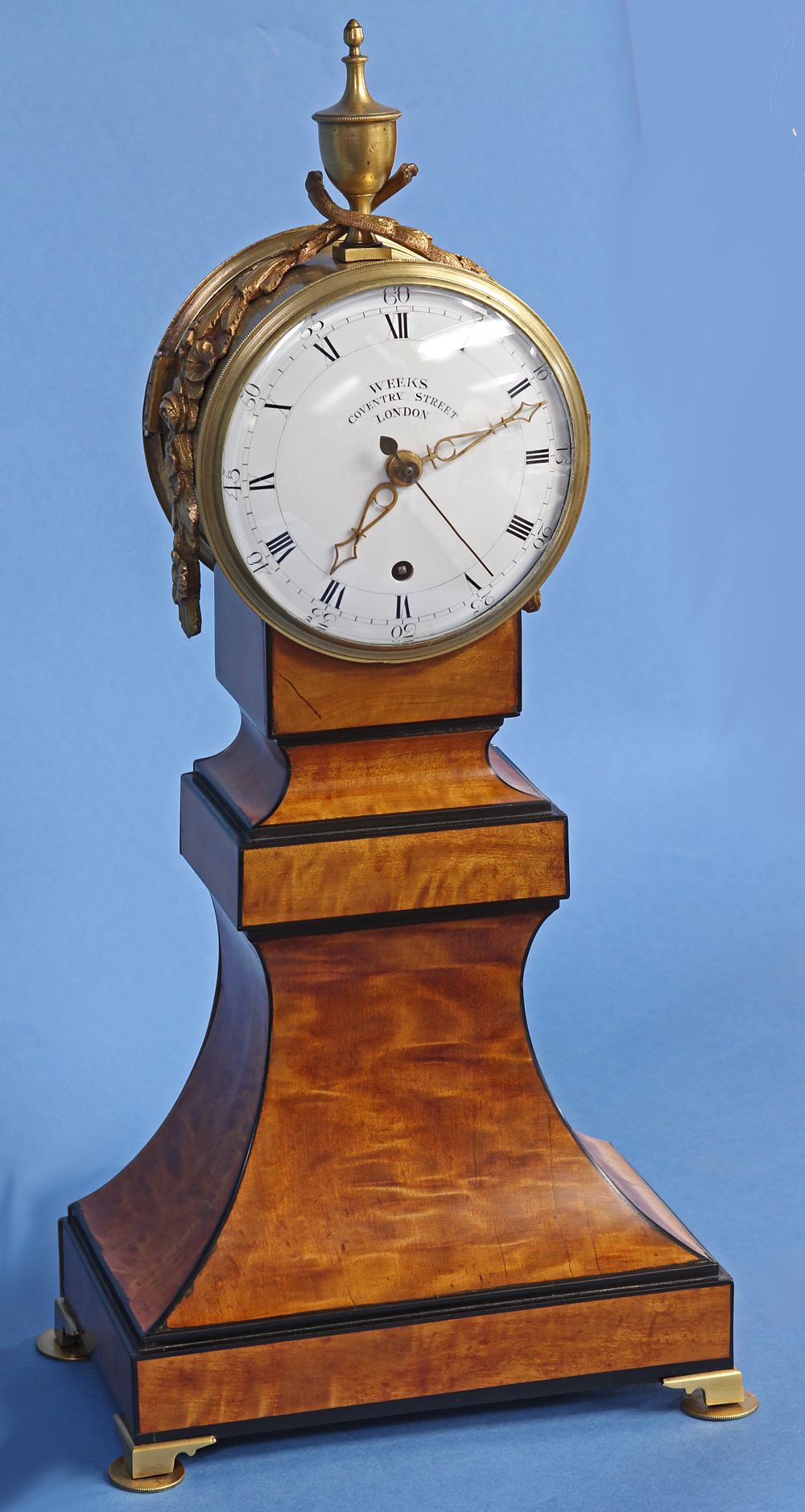 English Satinwood Mantle Clock.