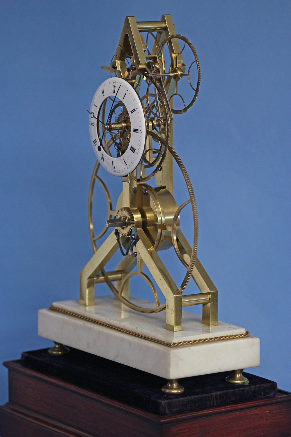 C 1815 Rare French Great Wheel Skeleton Clock With Balance