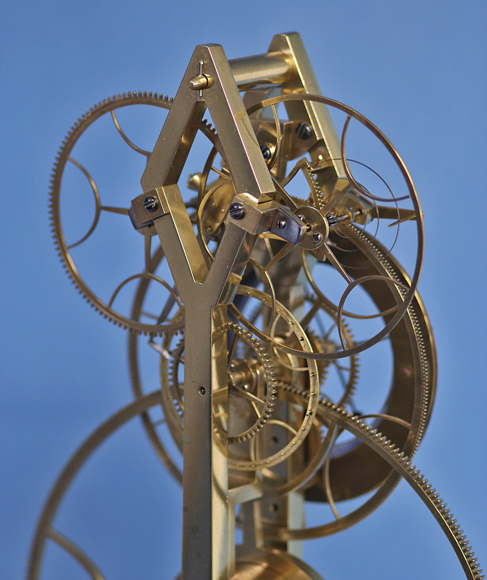 Rare rack pinwheel escapement with balance wheel.