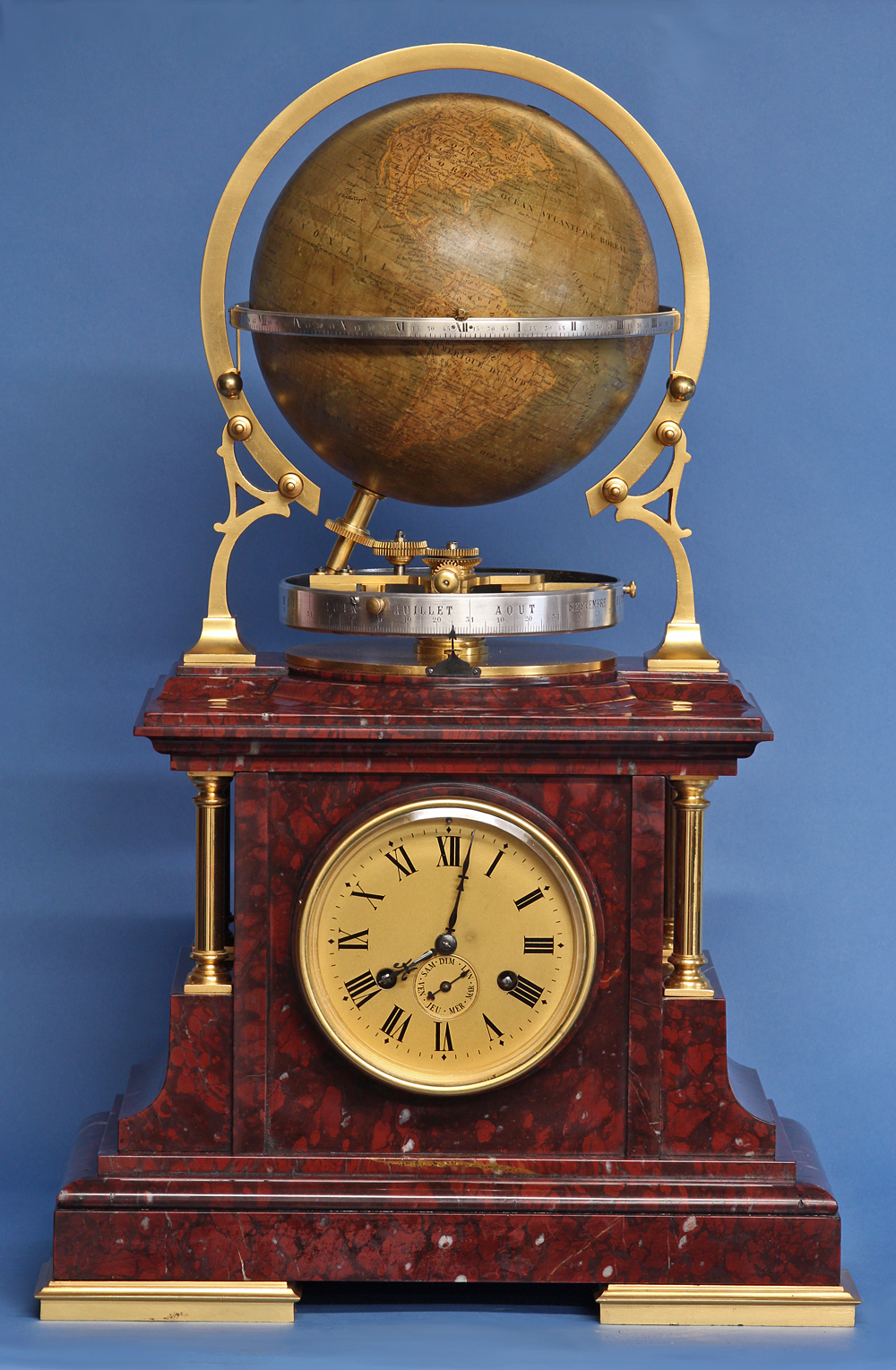 c.1895 French Globe Mantel Clock.