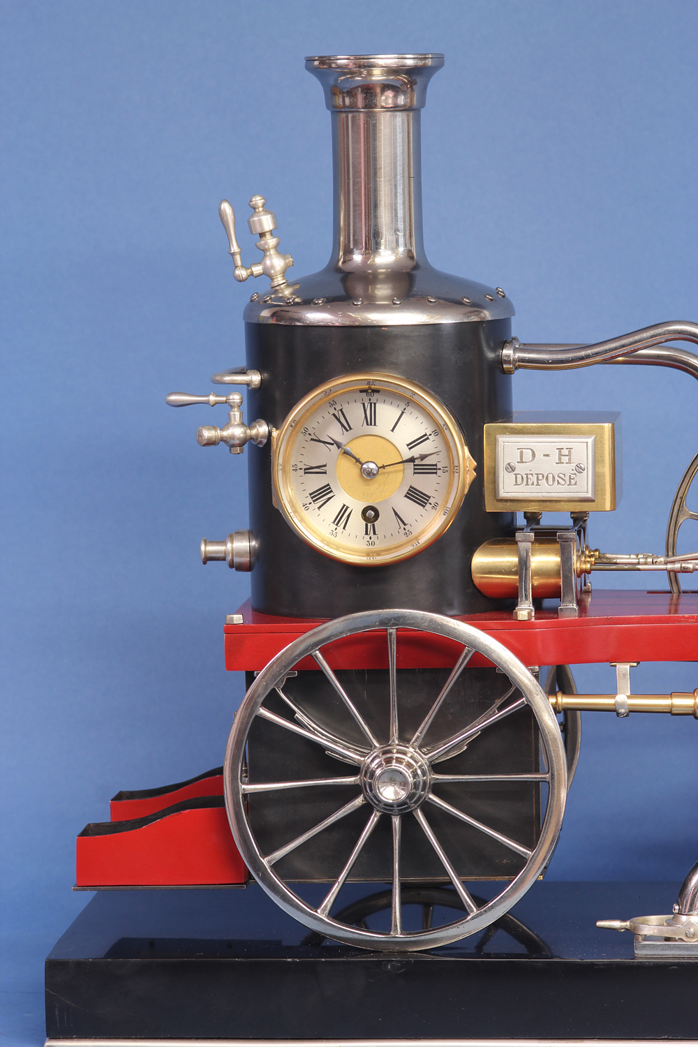 c.1900 French Industrial Fire Engine Clock
