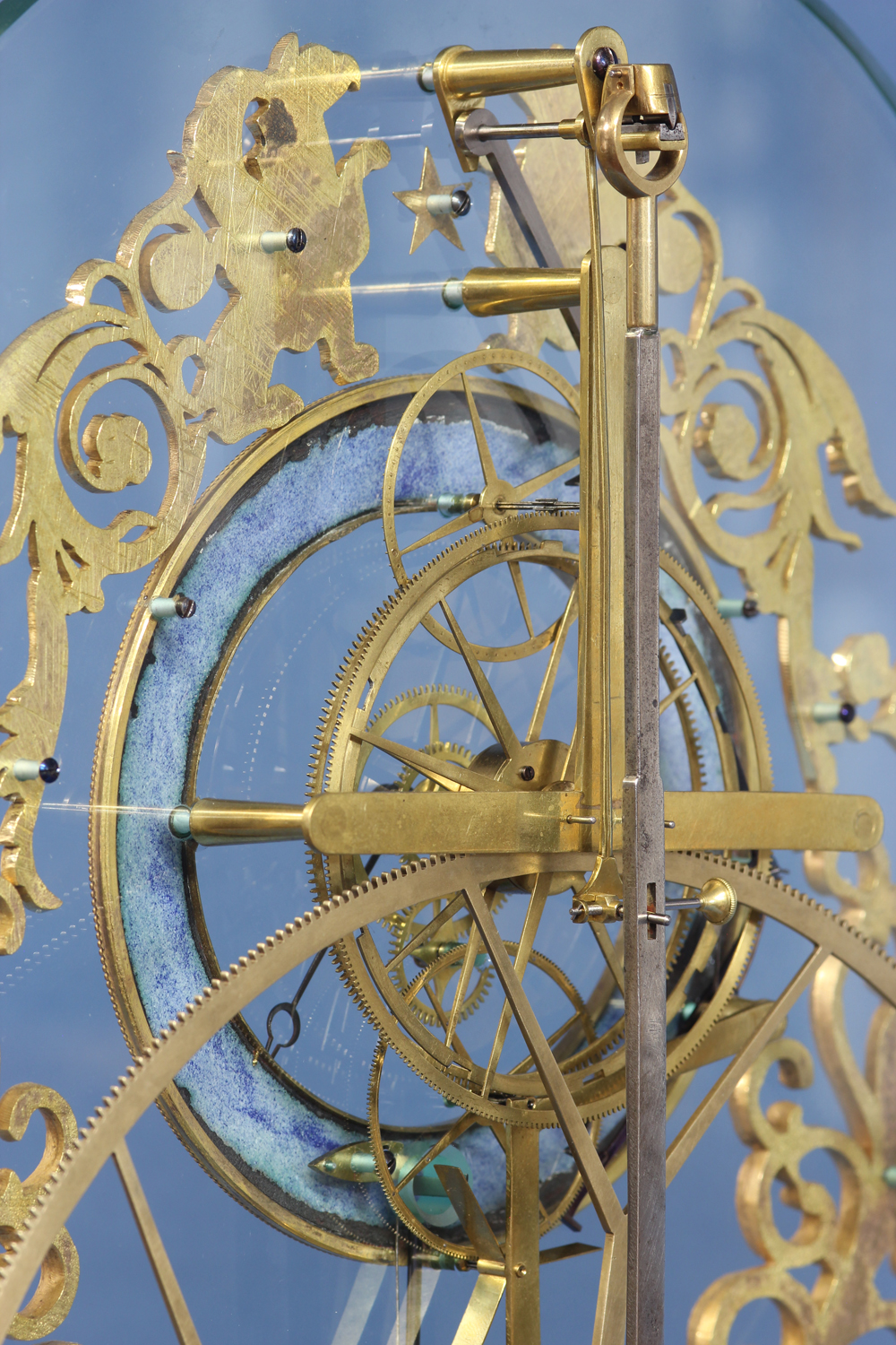 Rare French Glass-Plate Skeleton Clock with Remontoire Strike.