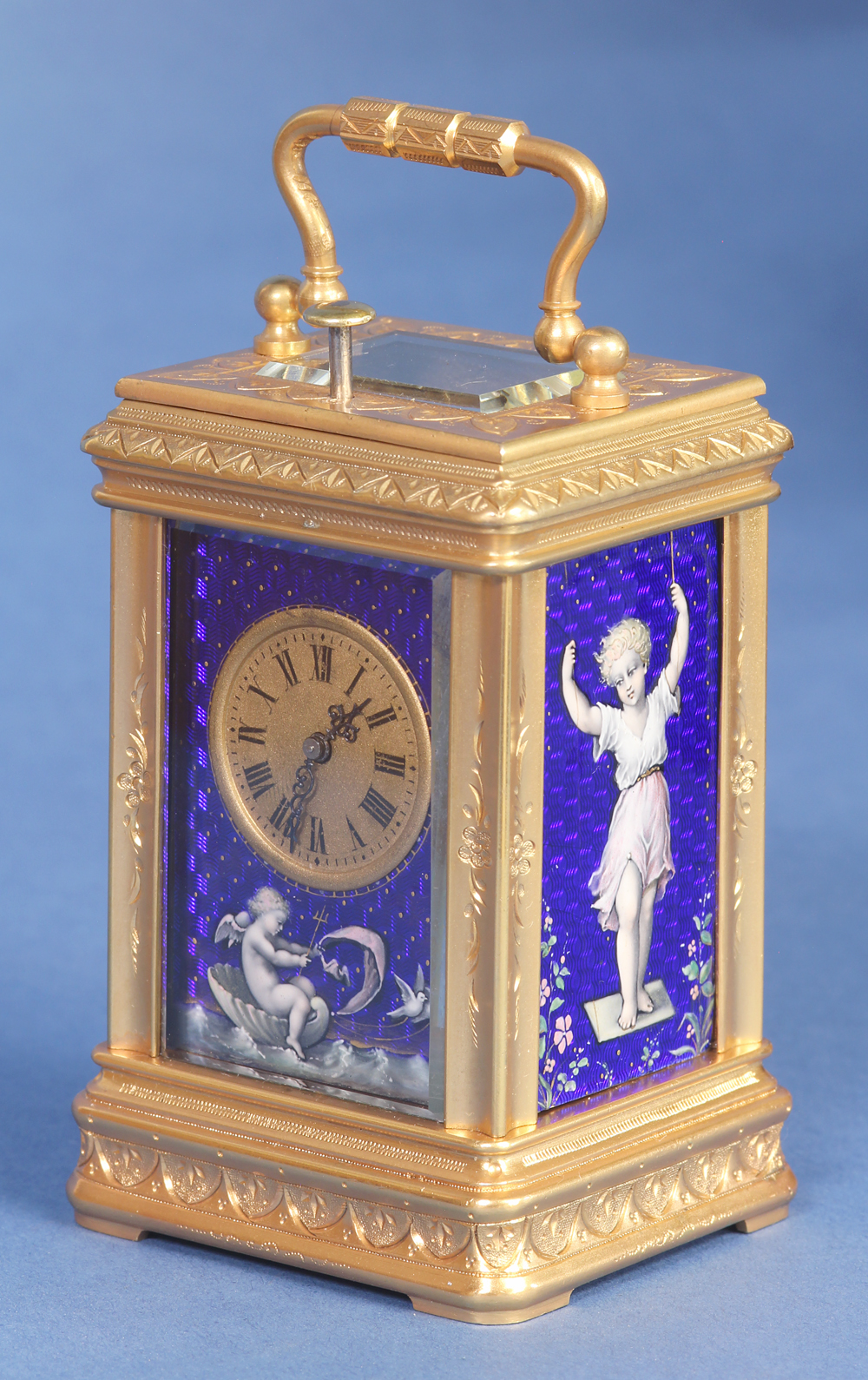 engraved miniature 1/4 striking carriage clock